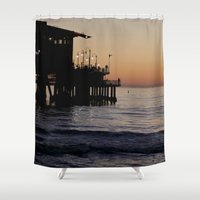 santa monica Shower Curtains featuring Santa Monica Beach Life by Amy J Smith Photography