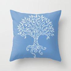 Tree of Life Blue Throw Pillow