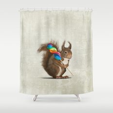 Squirrel with lollipop Shower Curtain
