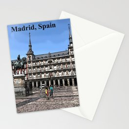 Comic Art of plaza in Madrid, Spain Stationery Cards