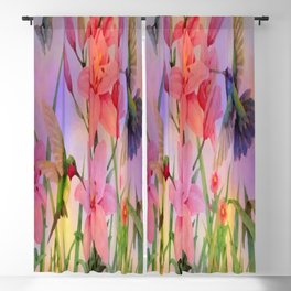 Painterly Hummingbirds And Flowers Blackout Curtain
