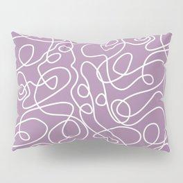 Doodle Line Art | White Lines on Soft Purple Pillow Sham
