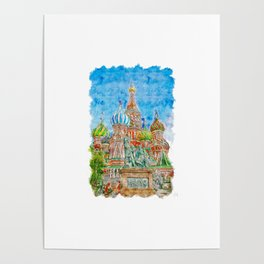 St Basils Cathedral Urban Sketching Poster