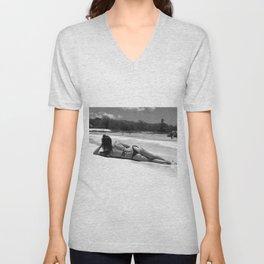 Female tropical island beach black and white photograph - photography - photographs Unisex V-Neck