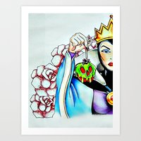 evil queen Art Prints featuring Evil Queen by Bernadette Woods