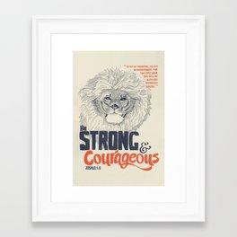 Strong & Courageous Lion - Joshua 1:9 Framed Art Print