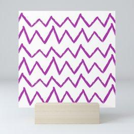 Hand-Drawn Zig Zag (Purple & White Pattern) Mini Art Print