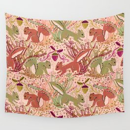 Squirrel in Woodland Fern Forest , Cute Squirrels Love hidden among the Acorn Nuts & Plants Wall Tapestry
