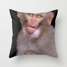 Young Rhesus Macaque Paintover Effect Throw Pillow