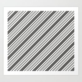 Pantone Pewter and White Thick and Thin Angled Lines - Diagonal Stripes Art Print