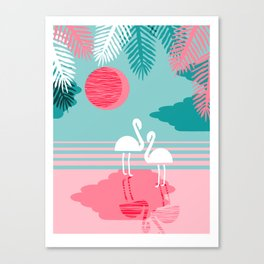 Chill Vibes - memphis retro throwback 1980s 80s neon pop art flamingo paradise socal vacation Canvas Print