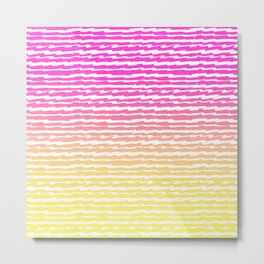 Neon Pink Yellow Ombre Abstract Stripes Pattern Metal Print