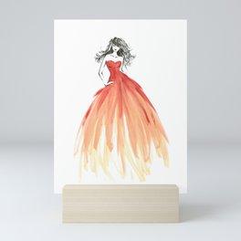 Coral ombre fashion illustration Mini Art Print