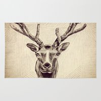 elk Area & Throw Rugs featuring Elk  by Werk of Art