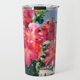 Sky Flowers Painting. Pink Tropical-Looking Flowers in a Hanging Flower Pot Captured from Bellow Travel Mug