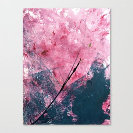 Orchid: a bright abstract mixed media piece in blue, pink, and, black Canvas Print