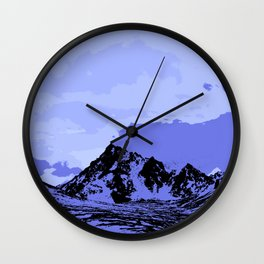Chugach Mountains - Blue Pop Art Wall Clock