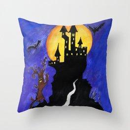 Haloween Castle Throw Pillow