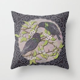 Celtic Starlings Throw Pillow