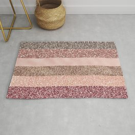Modern abstract rose pink geometric stripes Rug
