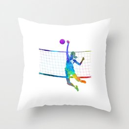 Woman volleyball player in watercolor Throw Pillow