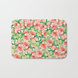 Botanical red green coral watercolor floral roses pattern Bath Mat