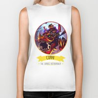 league of legends Biker Tanks featuring League Of Legends - Corki by TheDrawingDuo