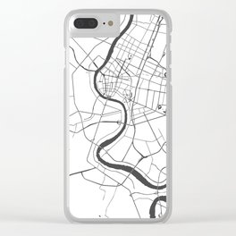 Bangkok Thailand Minimal Street Map - Gray and White Clear iPhone Case