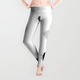 Black and gray blots on white background Leggings