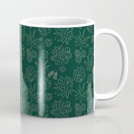 Dark Green Succulent Flower Garden Coffee Mug