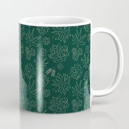 Dark Green Succulent Flower Garden Coffee Mug