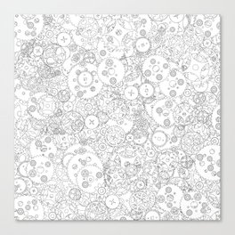 Clockwork B&W / Cogs and clockwork parts lineart pattern Canvas Print