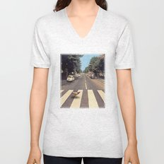 Why did the chicken cross THE road? Unisex V-Neck