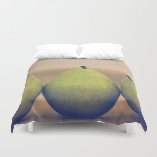 Three Green Pears Duvet Cover