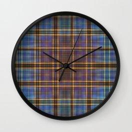 Blue and Gold Tartan Pattern Wall Clock