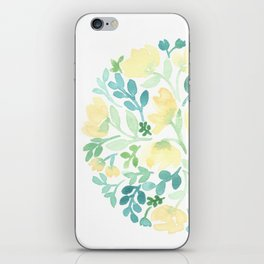 Yellow and Blue Floral Circle iPhone Skin