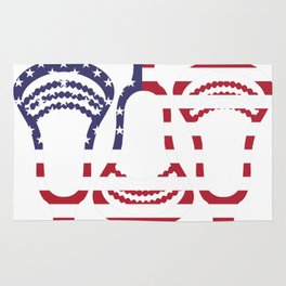 Lacrosse US Flag Head Trio Rug