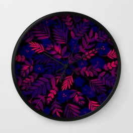 Neon Floral Print Wall Clock