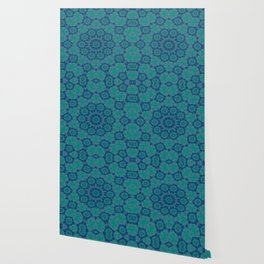 Jade , Aqua and Turquoise Symmetrical Pattern Wallpaper
