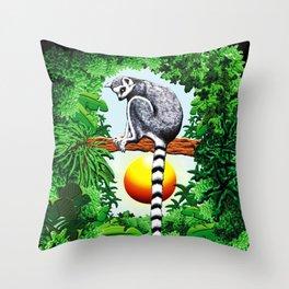 Ring-Tailed Lemur of Madagascar  Throw Pillow