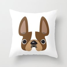 Another Pied Frenchie - Brown Throw Pillow
