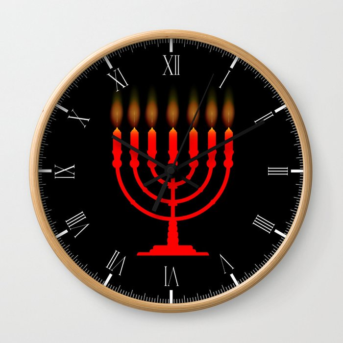 Menorh With Seven Candles Wall Clock