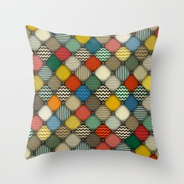 buttoned patches retro Throw Pillow