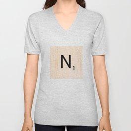 Scrabble Letter N - Large Scrabble Tiles Unisex V-Neck