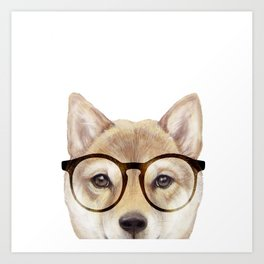 Shiba inu with glasses Dog illustration original painting print Art Print