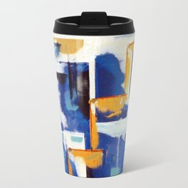 Stairway to Heaven: Abstract Acrylic Painting with blue and white and orange colors Travel Mug