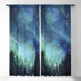 Galaxy Watercolor Aurora Borealis Painting Blackout Curtain