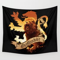 gryffindor Wall Tapestries featuring Gryffindor by Markusian