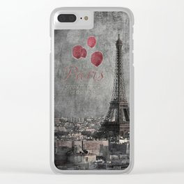 I love Paris {bw red balloons Clear iPhone Case