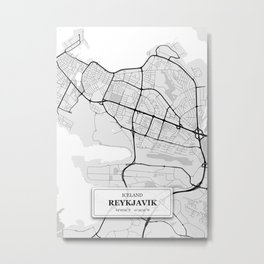 Reykjavik Iceland City Map with GPS Coordinates Metal Print